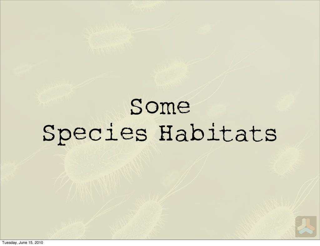 Some Species Habitats Tuesday, June 15, 2010