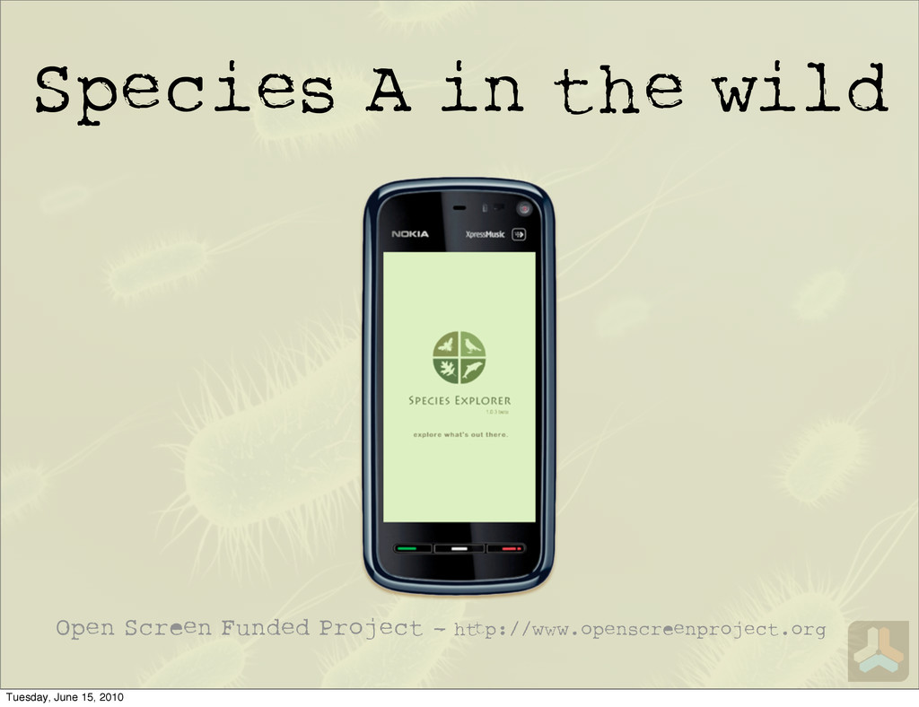 Species A in the wild Open Scr n Funded Project...
