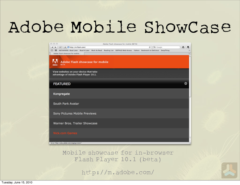 Adobe Mobile ShowCase Mobile showcase for in-br...
