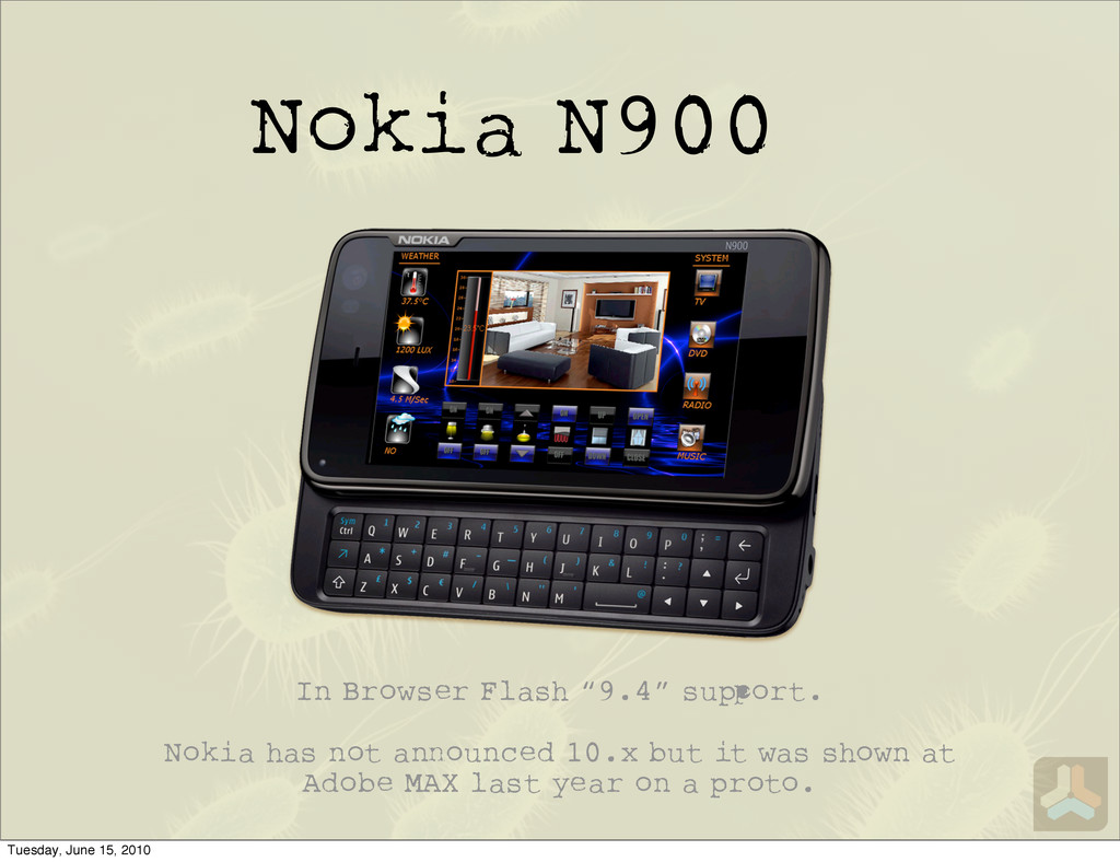 "Nokia N900 In Browser Flash ""9.4"" su ort. Nokia..."