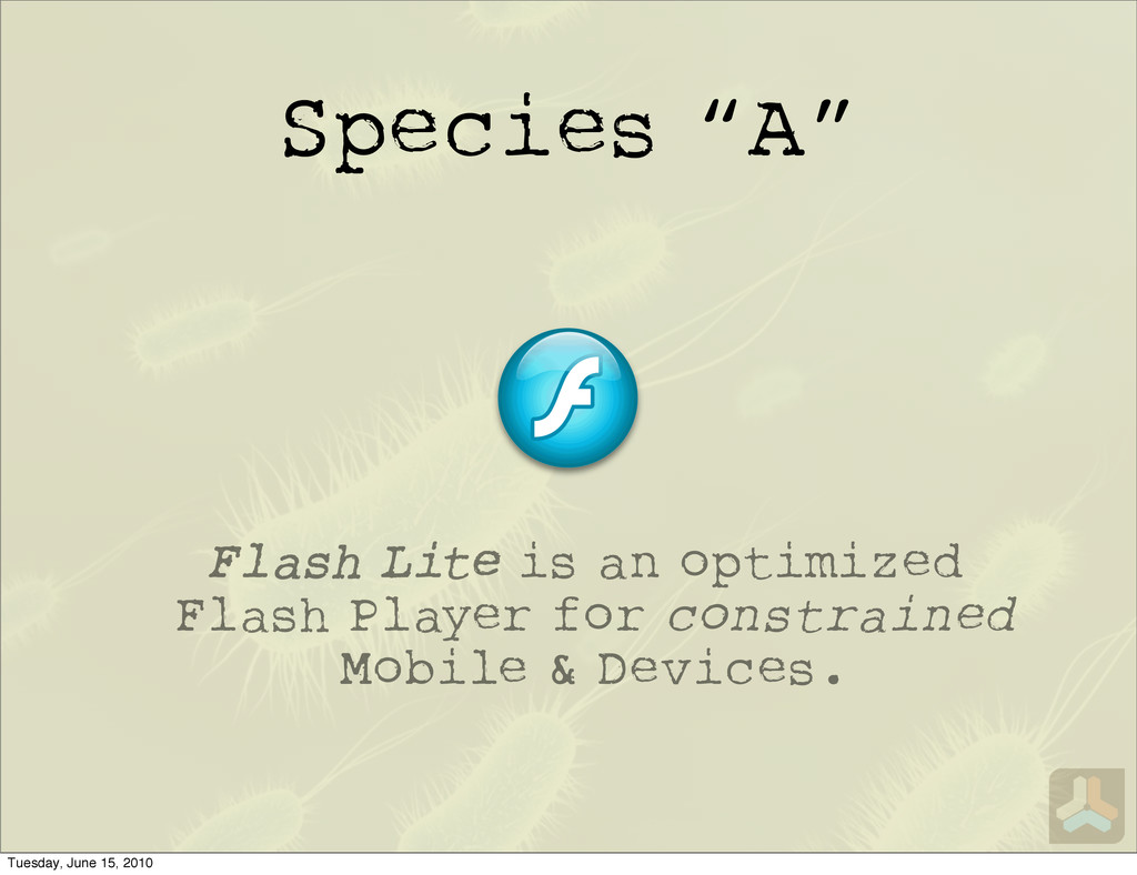 "Species ""A"" Flash Lite is an optimized Flash Pl..."