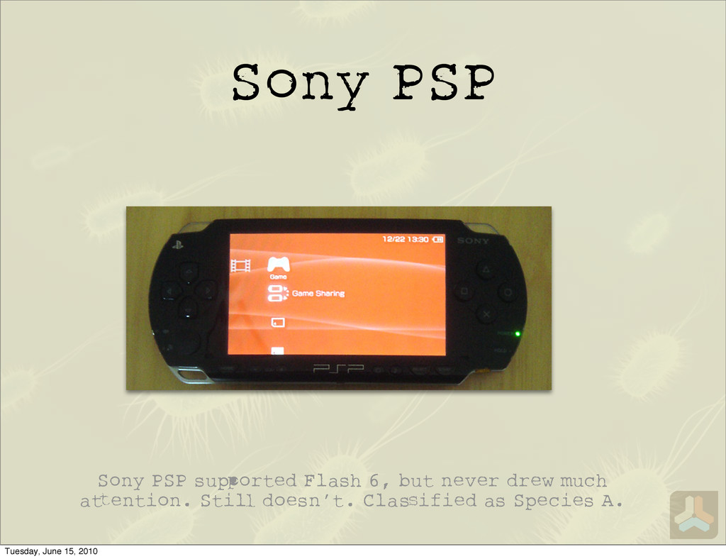 Sony PSP Sony PSP su orted Flash 6, but never d...