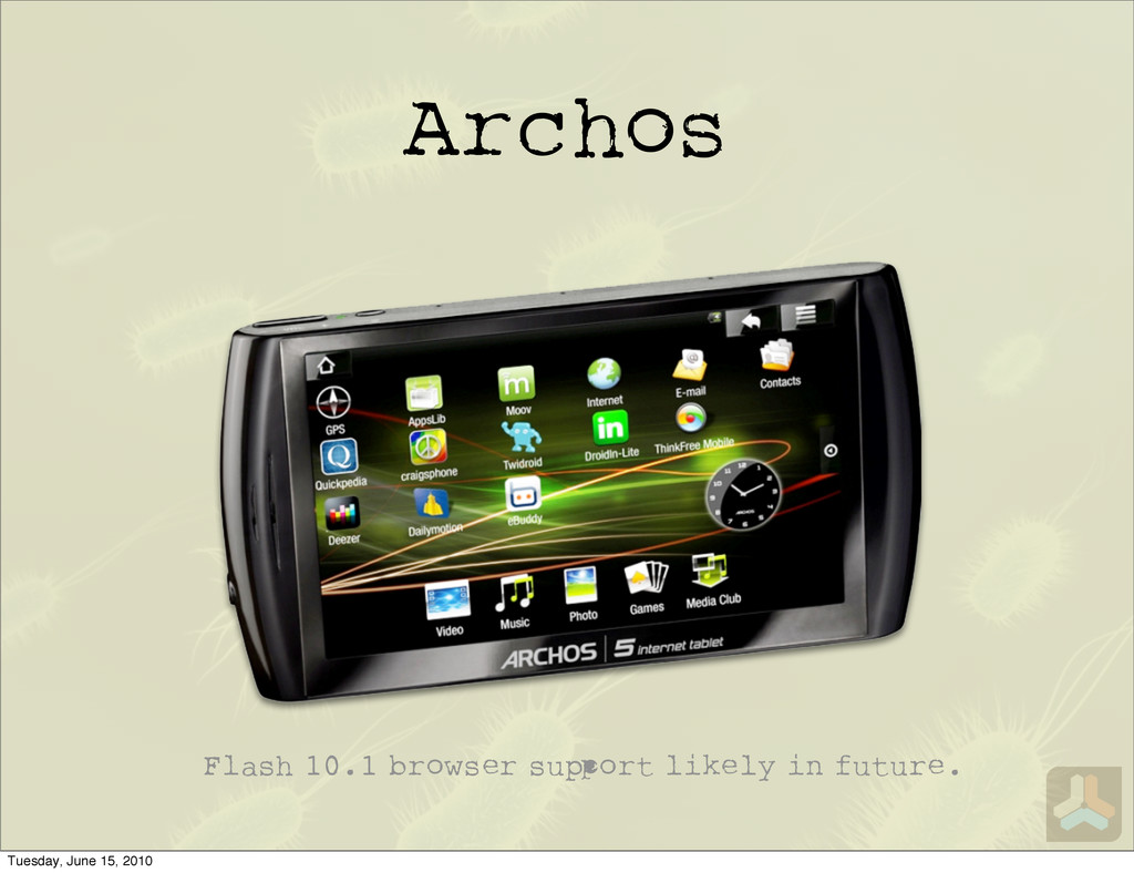 Archos Flash 10.1 browser su ort likely in futu...