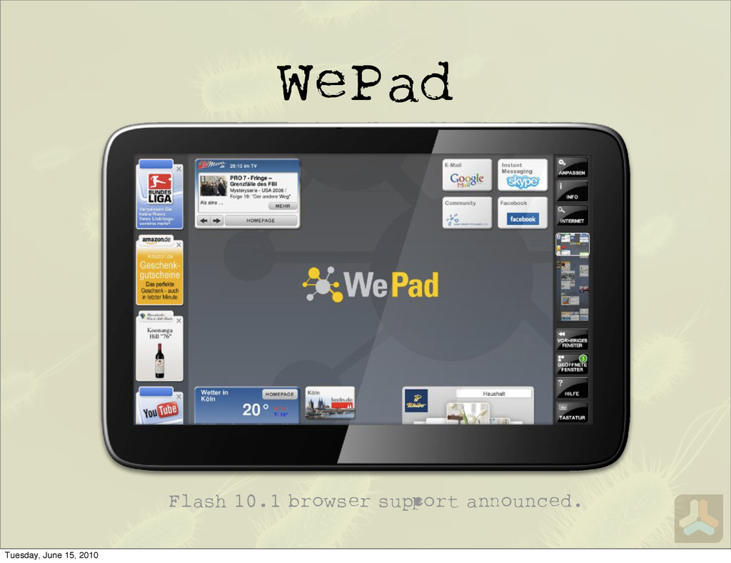 WePad Flash 10.1 browser su ort a ounced. Tuesd...