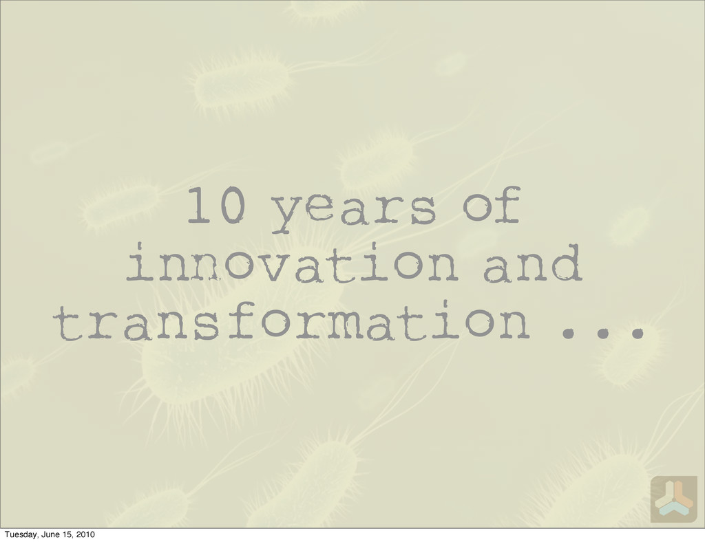 10 years of i ovation and transformation ... Tu...