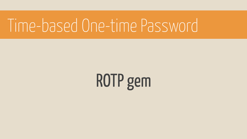 ROTP gem Time-based One-time Password