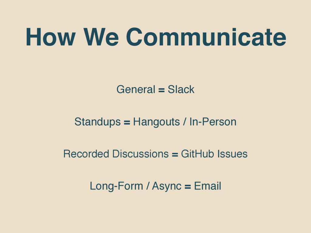 How We Communicate General = Slack Standups = H...