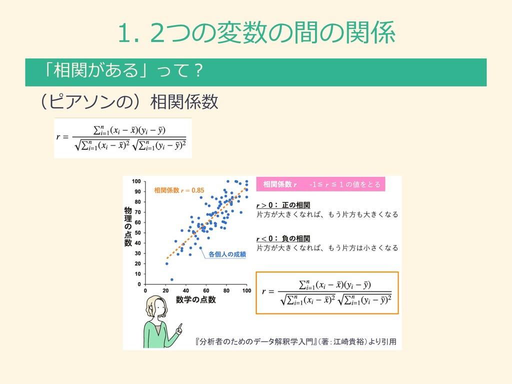 1. 2つの変数の間の関係 (ピアソンの)相関係数 「相関がある」って︖ 『分析者のためのデー...