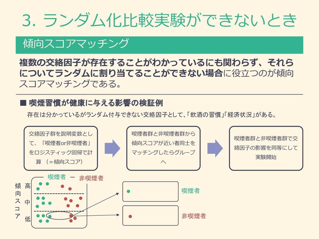 3. ランダム化⽐較実験ができないとき 傾向スコアマッチング 複数の交絡因⼦が存在することがわ...