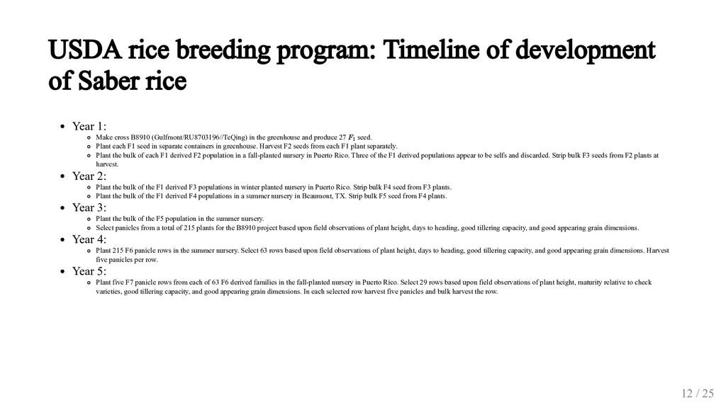 USDA rice breeding program: Timeline of develop...