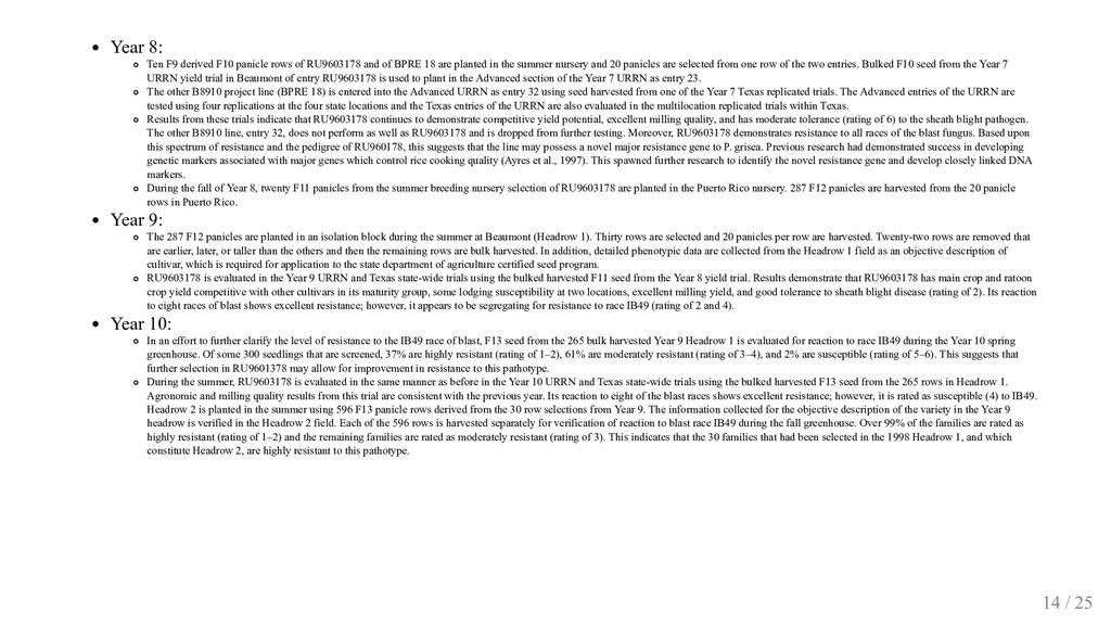 Year 8: Ten F9 derived F10 panicle rows of RU96...