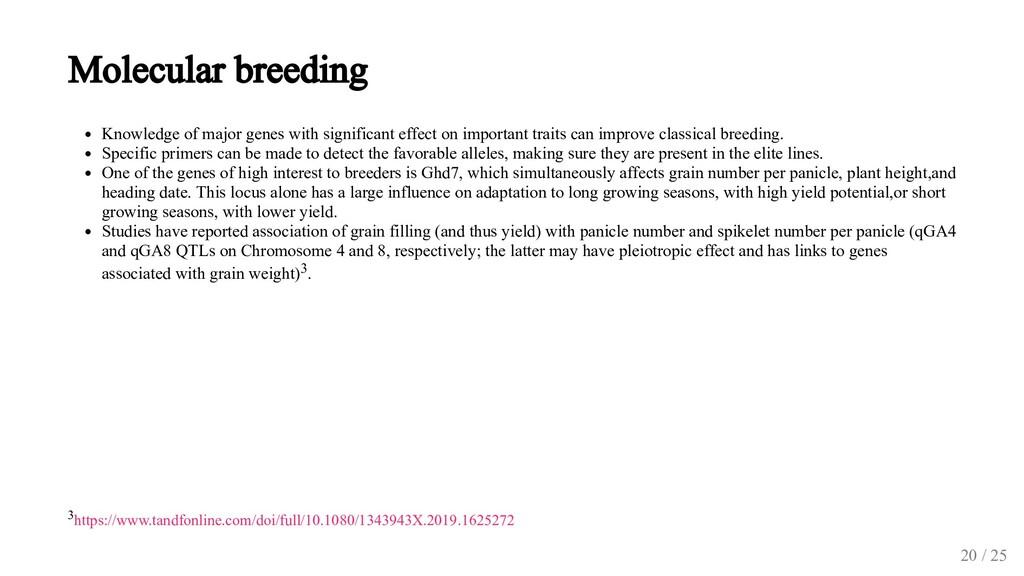Molecular breeding Knowledge of major genes wit...
