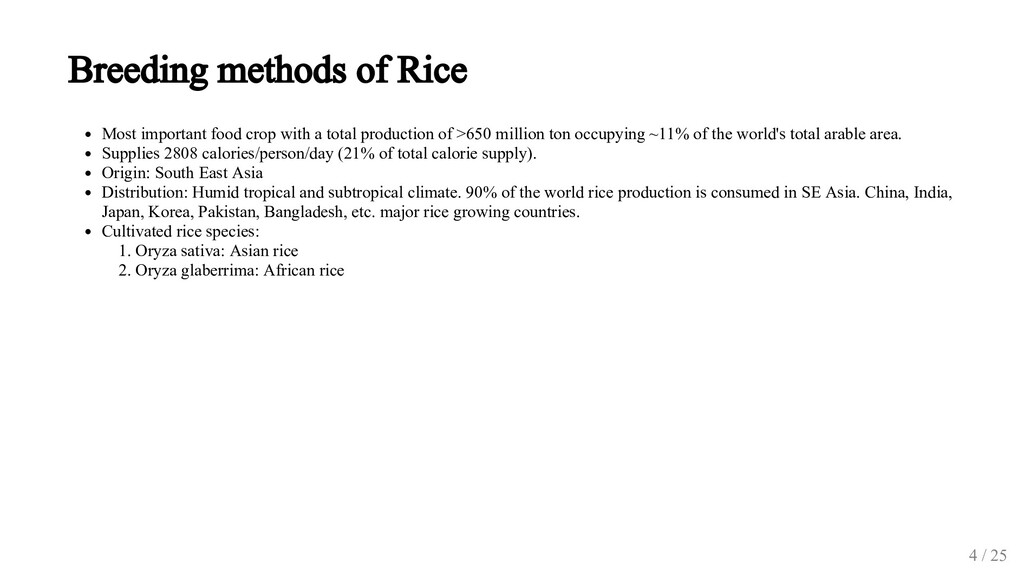 Breeding methods of Rice Most important food cr...