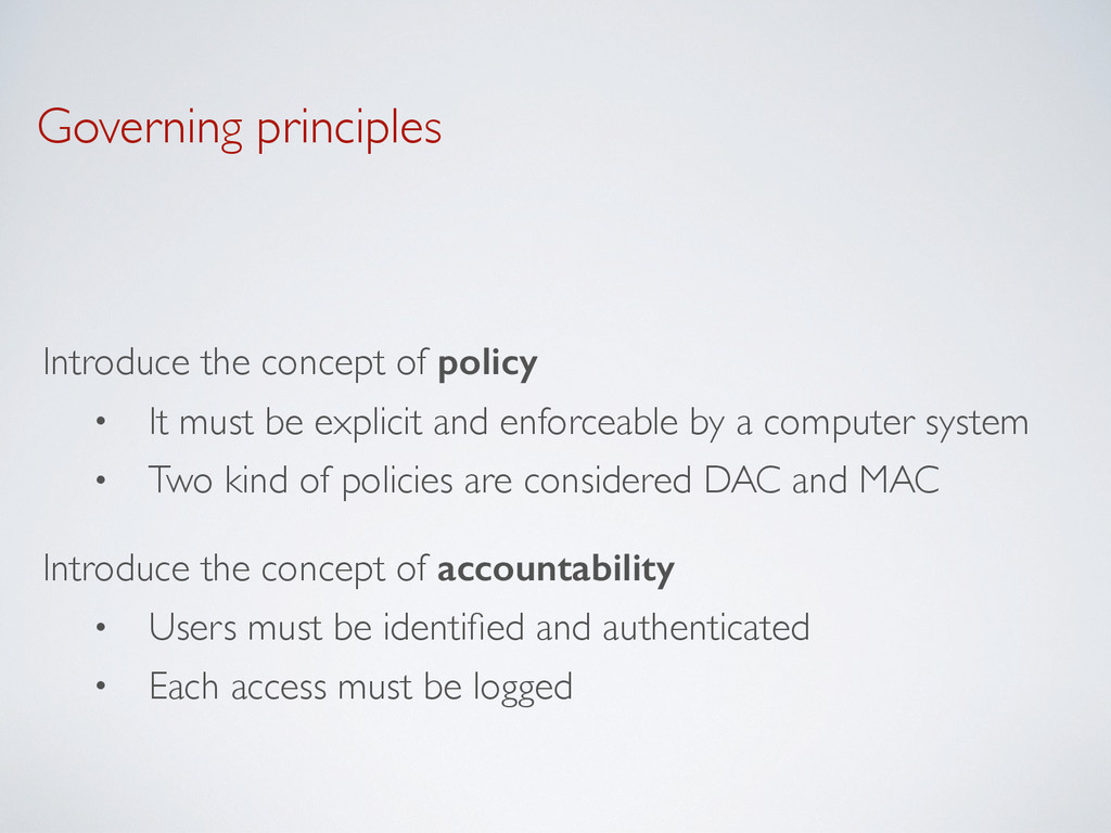 Governing principles Introduce the concept of p...