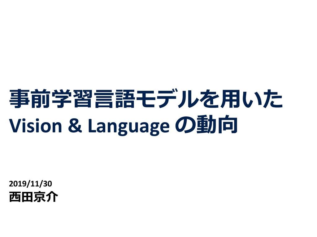 事前学習⾔語モデルを⽤いた Vision & Language の動向 2019/11/30 ...