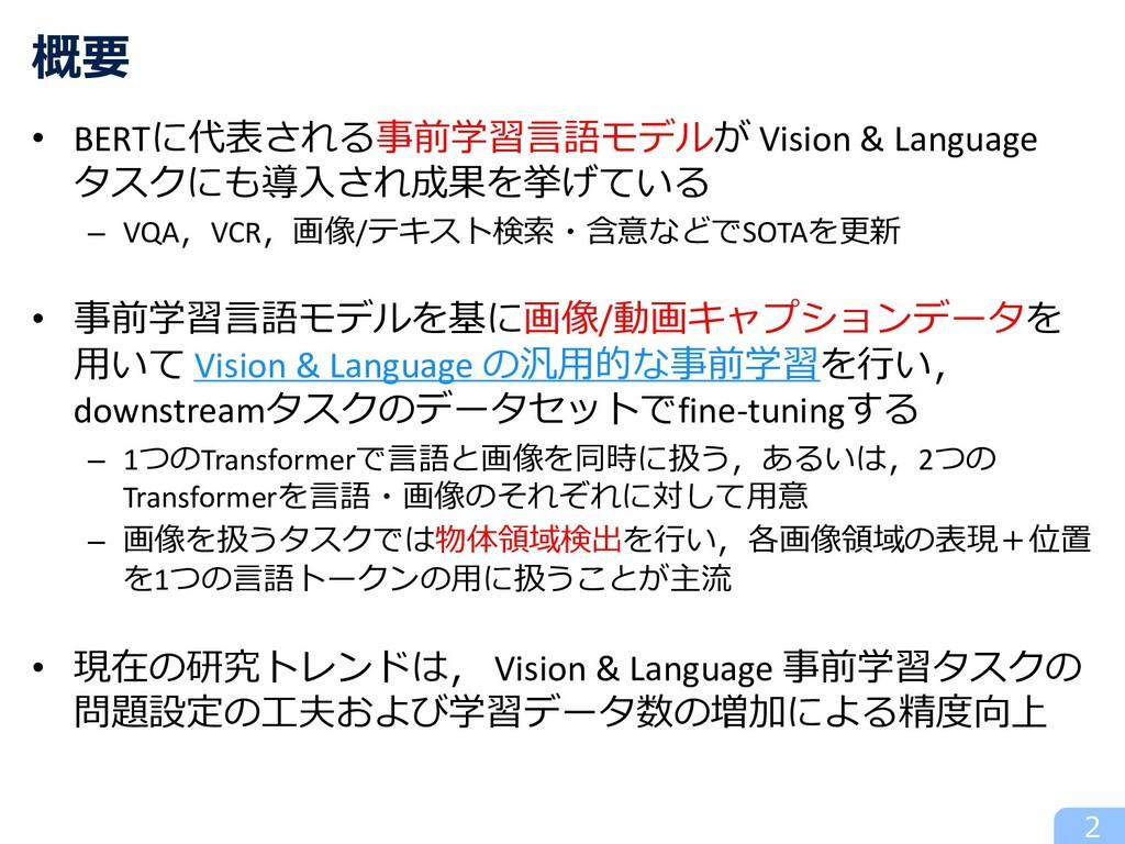 • BERTに代表される事前学習⾔語モデルが Vision & Language タスクにも導...