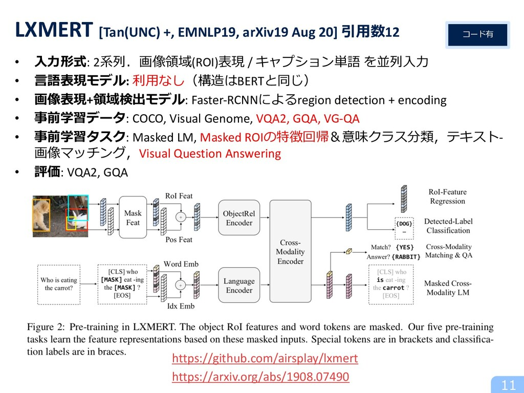 • ⼊⼒形式: 2系列.画像領域(ROI)表現 / キャプション単語 を並列⼊⼒ • ⾔語表現...
