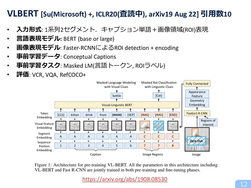• ⼊⼒形式: 1系列2セグメント.キャプション単語+画像領域(ROI)表現 • ⾔語表現モデ...