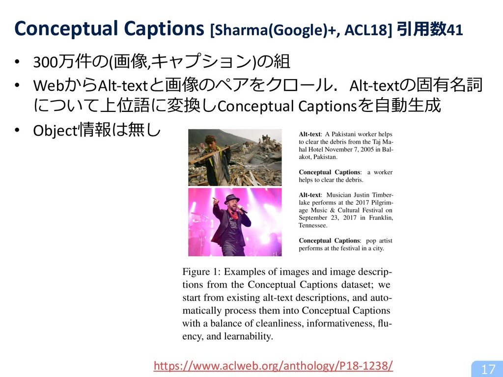 • 300万件の(画像,キャプション)の組 • WebからAlt-textと画像のペアをクロー...