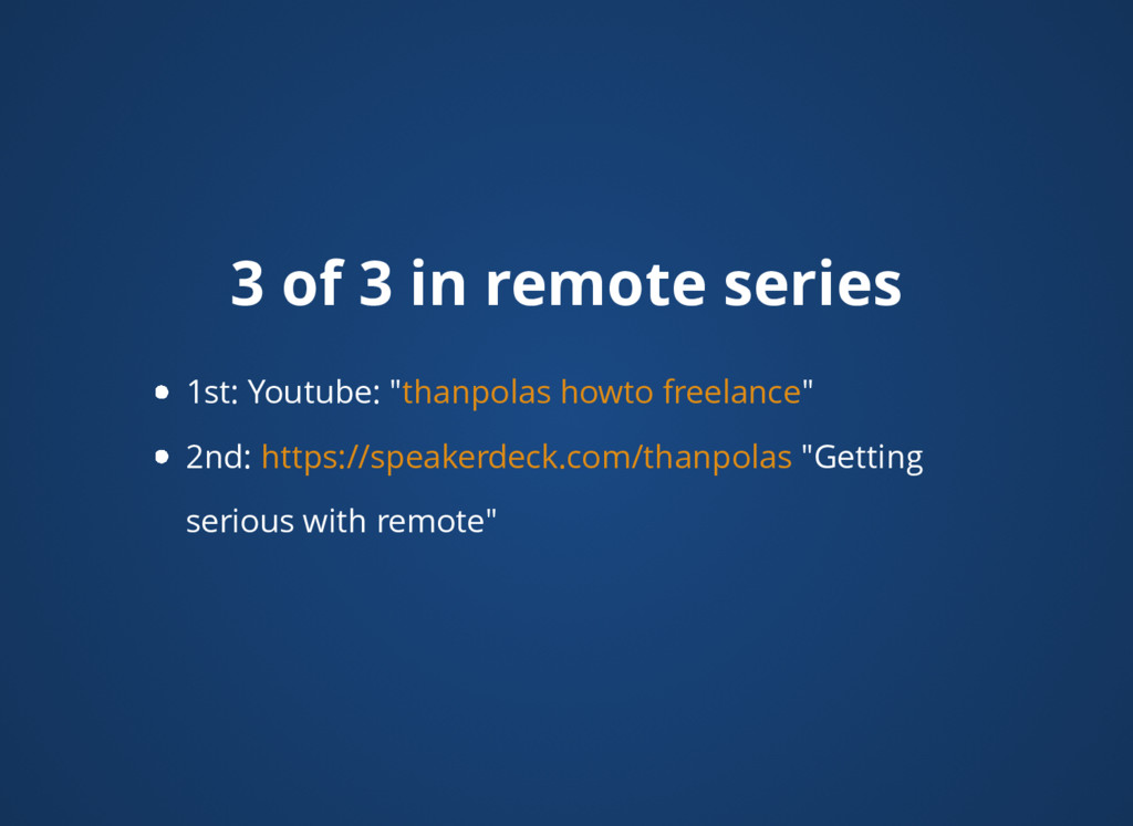 """3 of 3 in remote series 1st: Youtube: """" """" 2nd: ..."""
