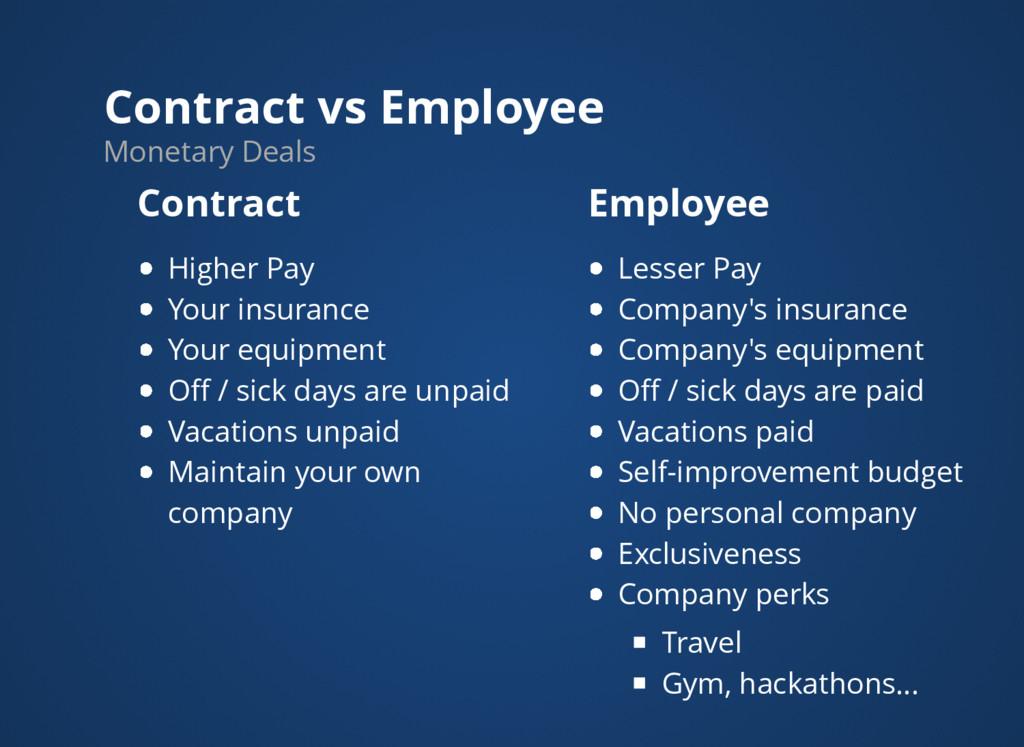 Contract vs Employee Monetary Deals Contract Hi...