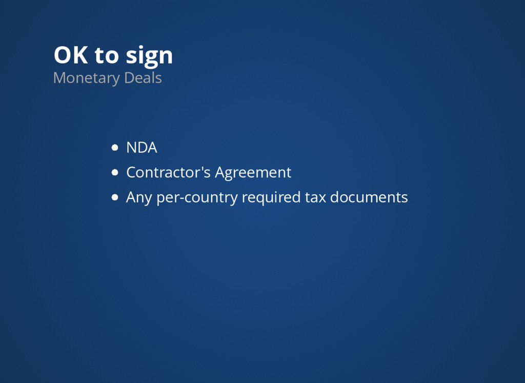 OK to sign Monetary Deals NDA Contractor's Agre...