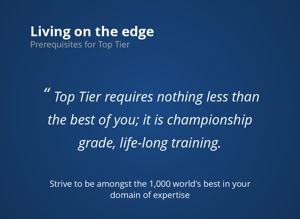 """Living on the edge """" Top Tier requires nothing ..."""