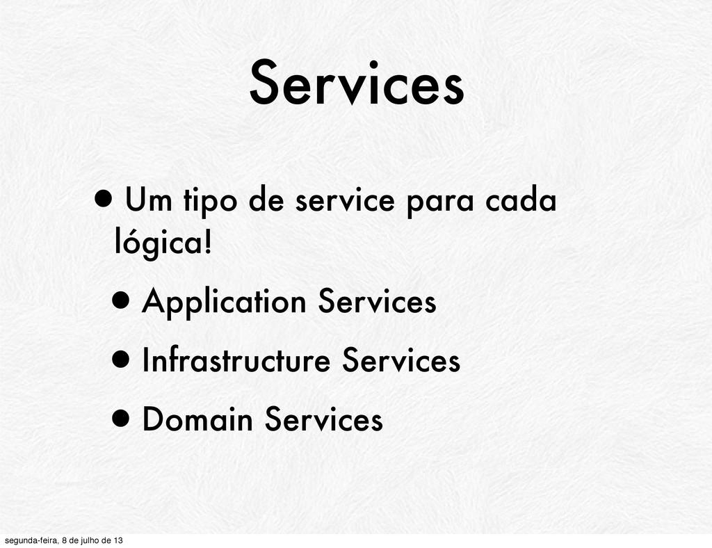 Services •Um tipo de service para cada lógica! ...