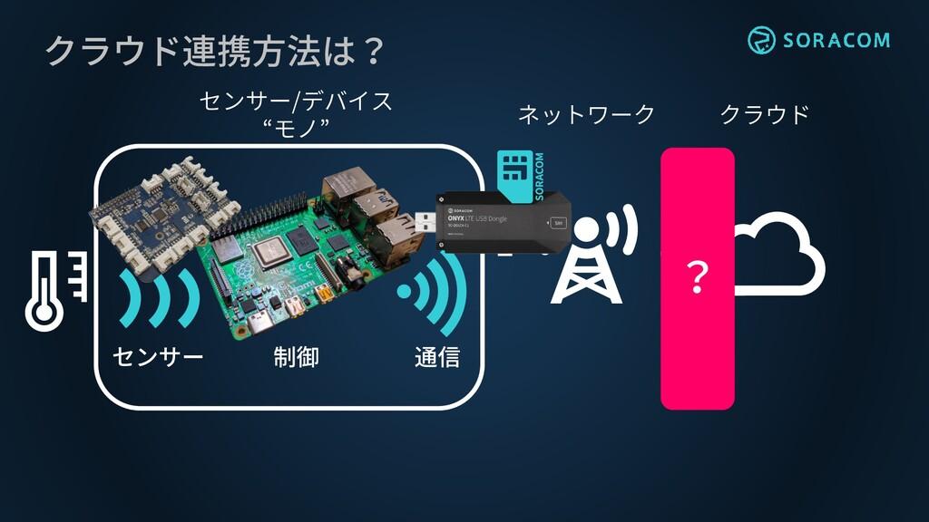 """クラウド連携方法は? クラウド ネットワーク センサー/デバイス """"モノ"""" センサー 通信 制..."""