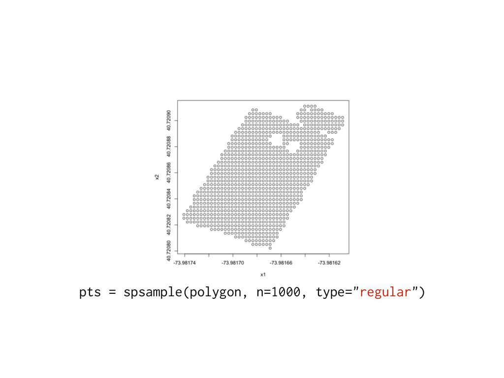 "pts = spsample(polygon, n=1000, type=""regular"")"
