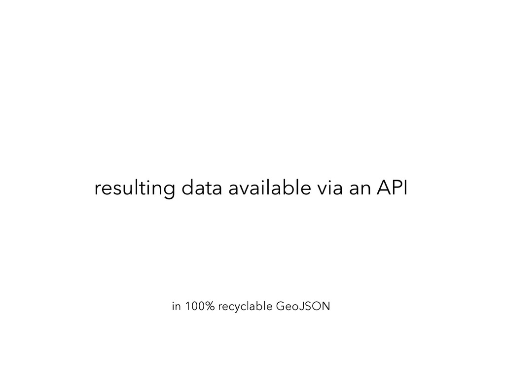 resulting data available via an API in 100% rec...