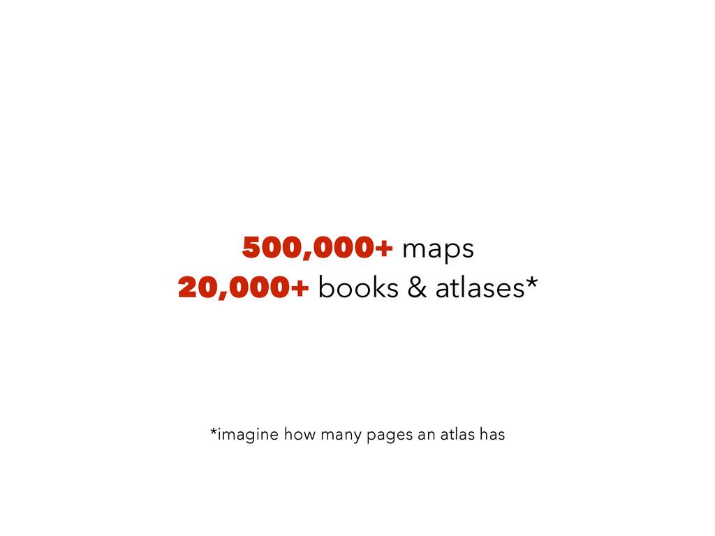 500,000+ maps 20,000+ books & atlases* *imagine...