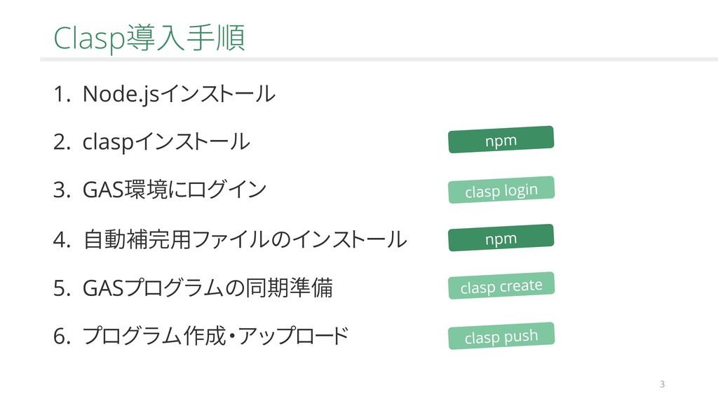 3 Clasp導入手順 1. Node.jsインストール 2. claspインストール 3. ...