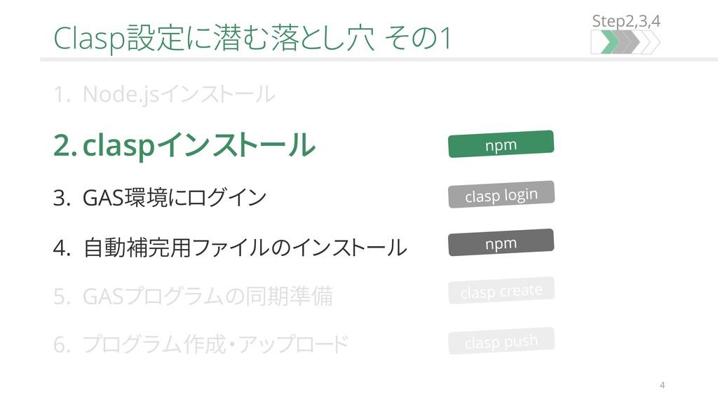 Step2,3,4 4 Clasp設定に潜む落とし穴 その1 1. Node.jsインストール...