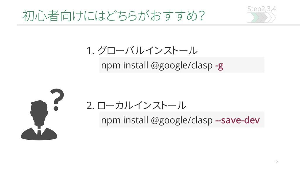 Step2,3,4 初心者向けにはどちらがおすすめ? 6 npm install @googl...