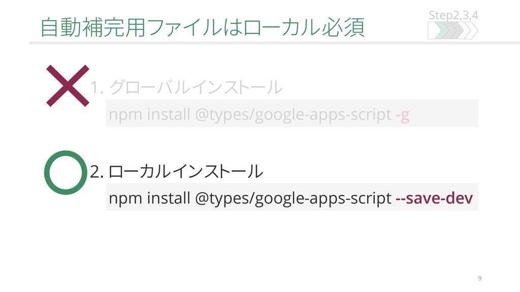Step2,3,4 自動補完用ファイルはローカル必須 9 npm install @types...