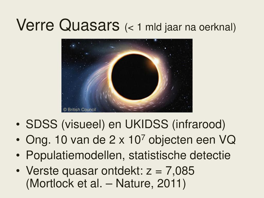 Verre Quasars (< 1 mld jaar na oerknal) • SDSS ...