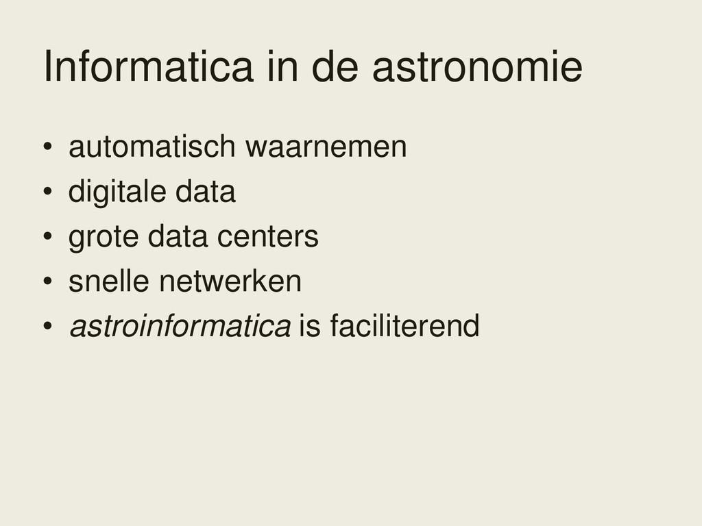 Informatica in de astronomie • automatisch waar...