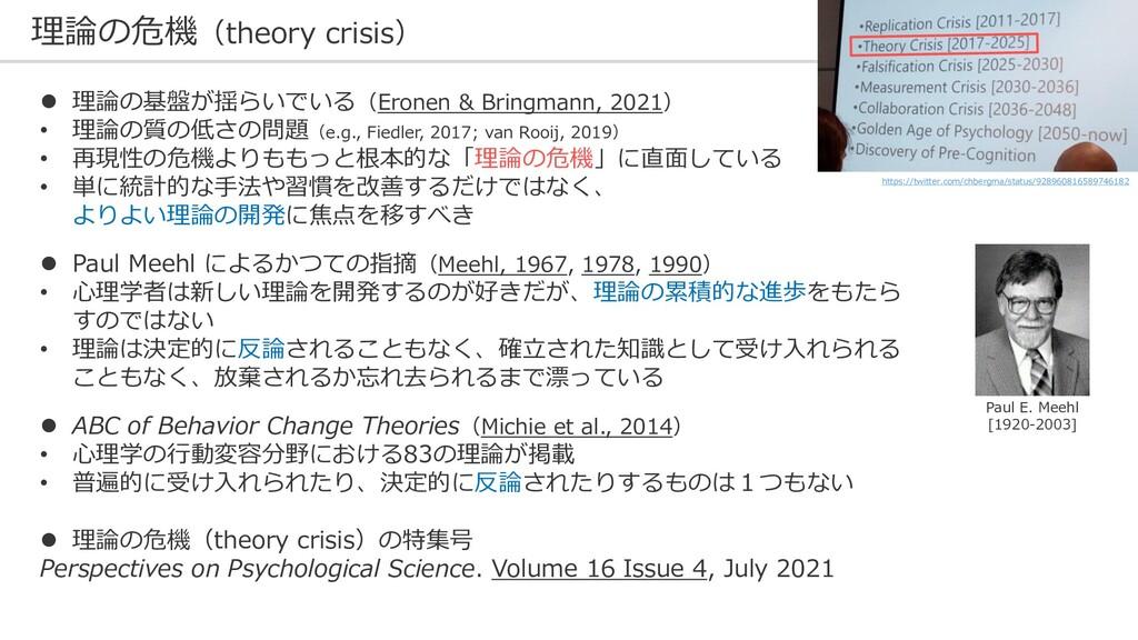 理論の危機(theory crisis) 26 ⚫ 理論の基盤が揺らいでいる(Eronen &...