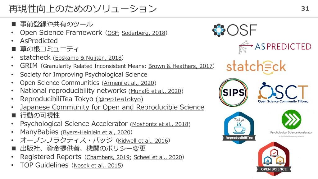 再現性向上のためのソリューション 31 ◼ 事前登録や共有のツール • Open Scienc...