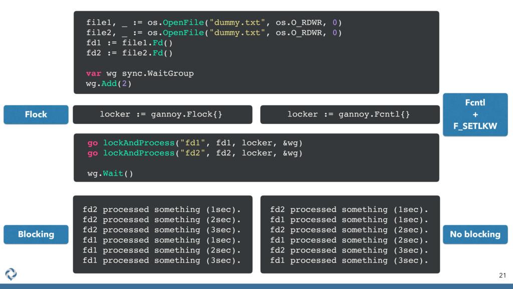 """21 file1, _ := os.OpenFile(""""dummy.txt"""", os.O_RD..."""