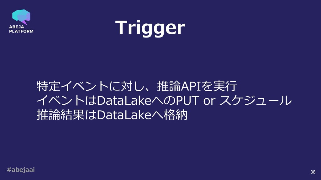 #abejaai 38 特定イベントに対し、推論APIを実⾏ イベントはDataLakeへのP...