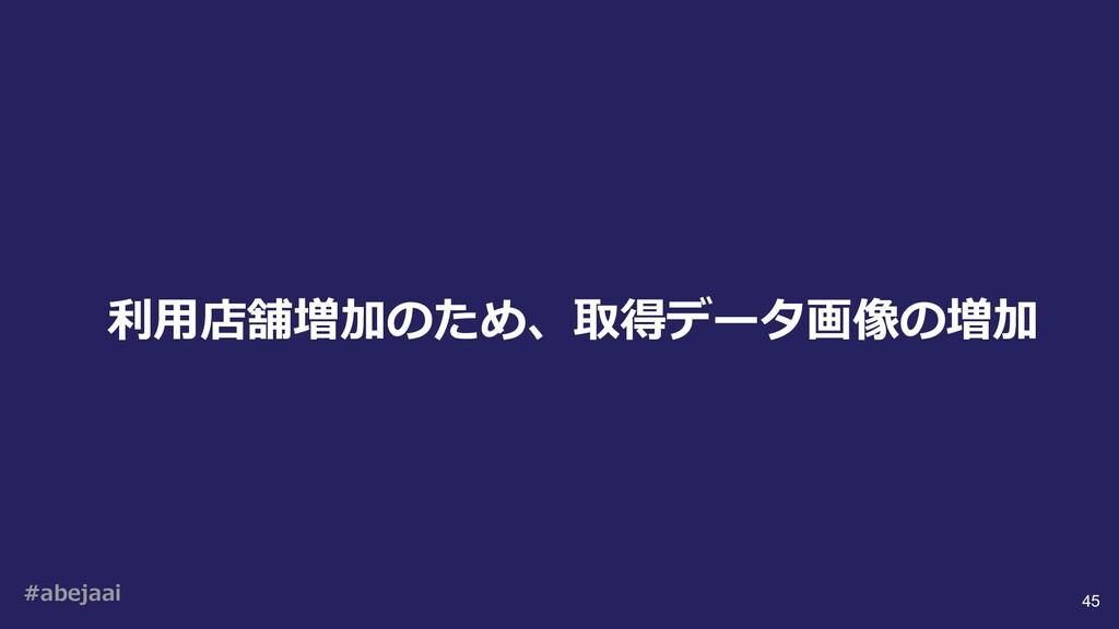 #abejaai 45 利⽤店舗増加のため、取得データ画像の増加