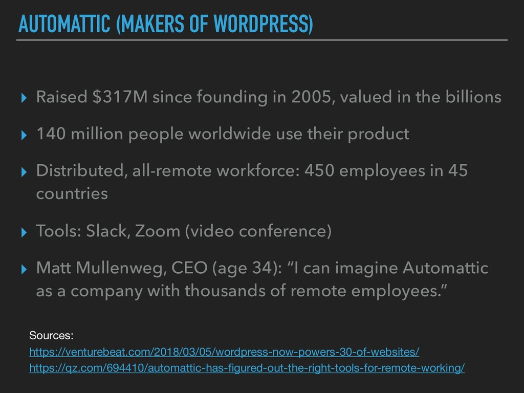AUTOMATTIC (MAKERS OF WORDPRESS) ▸ Raised $317M...
