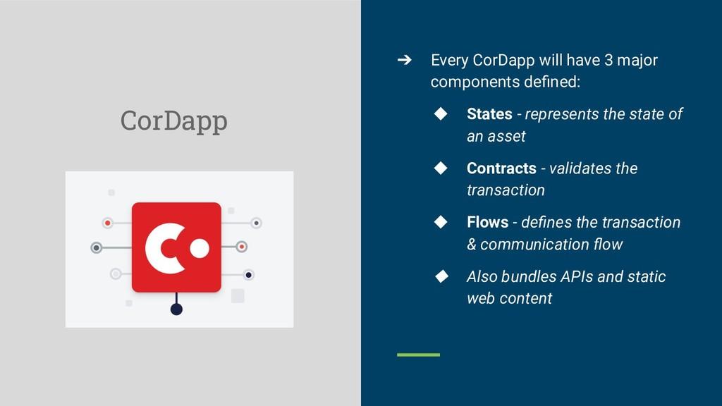 CorDapp ➔ Every CorDapp will have 3 major compo...