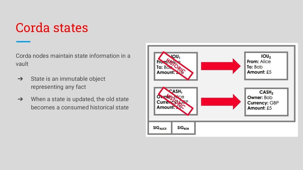 Corda states Corda nodes maintain state informa...