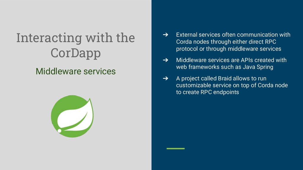 Interacting with the CorDapp Middleware service...