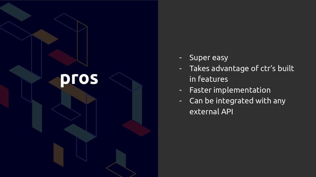 pros - Super easy - Takes advantage of ctr's bu...