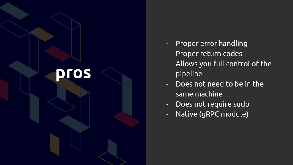 pros - Proper error handling - Proper return co...