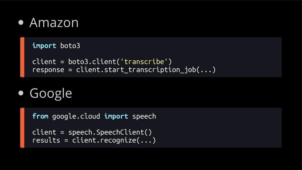 Amazon import boto3 client = boto3.client('tran...